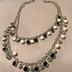 WHBM black, white, crystal silver layer necklace